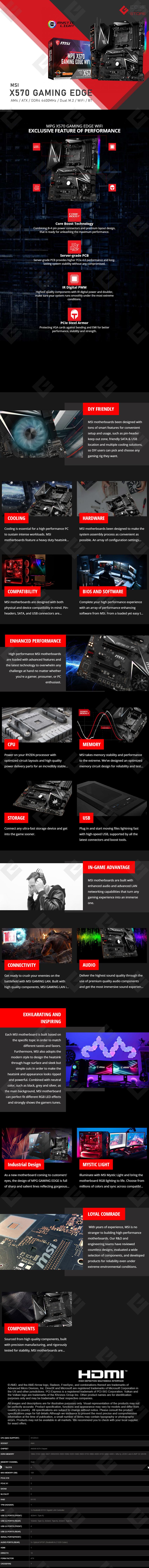Tarjeta Madre MSI MPG X570 Gaming Edge WiFi, ATX, AM4, DDR4 4400Mhz OC, Dual M.2, Crossfire, Wifi, Bluetooth