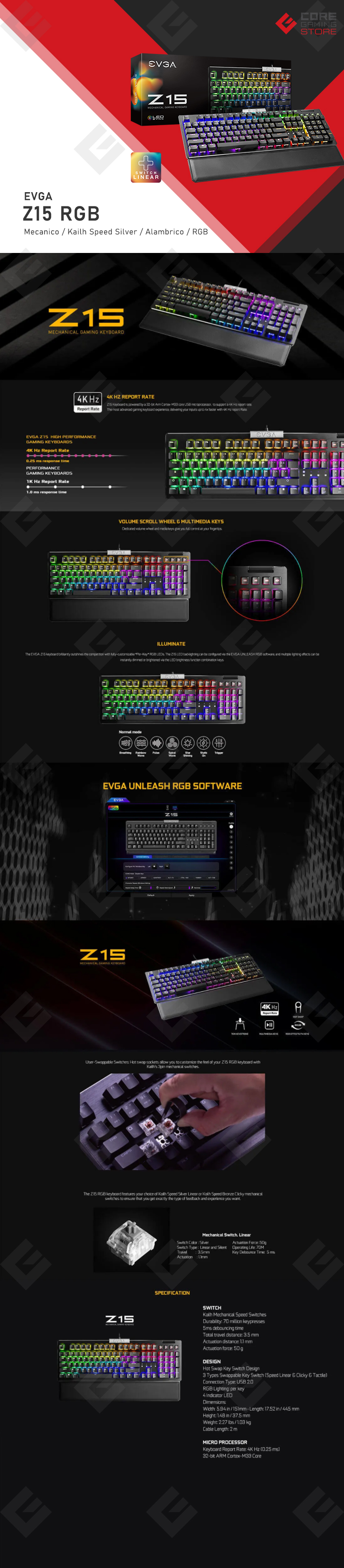 Teclado Mecanico EVGA Z15 RGB, Hot Swappable Switches, Kailh Speed Silver (Linear), Ingles - 821-W1-15US-KR