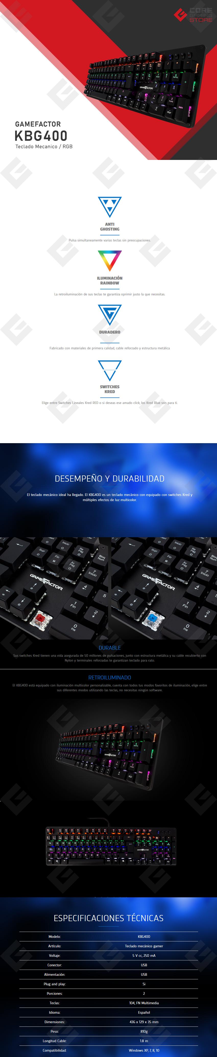 Teclado Mecanico GameFactor KBG400, Retroiluminado, Switch Red, USB, Negro - KBG400-RD