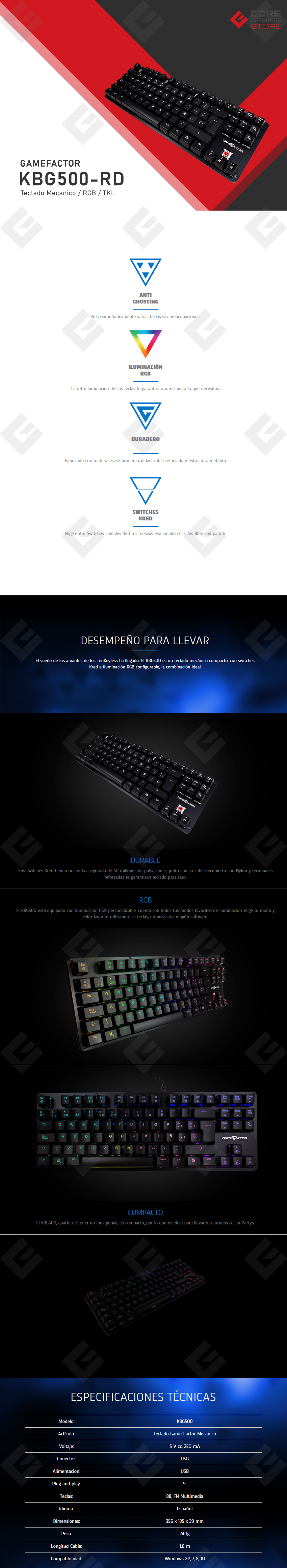 Teclado Mecanico GameFactor KBG500, TKL, Switch Red, RGB - KBG500-RD