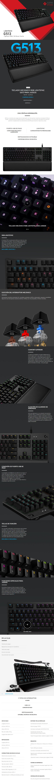 Teclado Mecánico Logitech G513, GX Brown Tactile, Lightsync RGB, Reposa Muñecas, Ingles - 920-008860