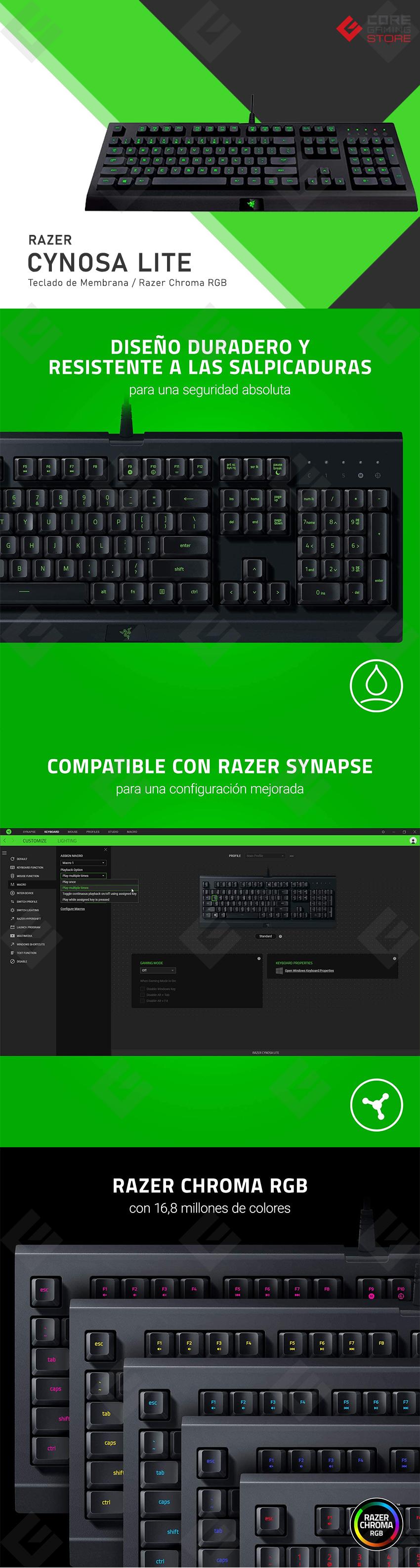 Teclado Gamer de Membrana Razer Cynosa Lite, Razer Chroma RGB, Español - RZ03-02741600-R311