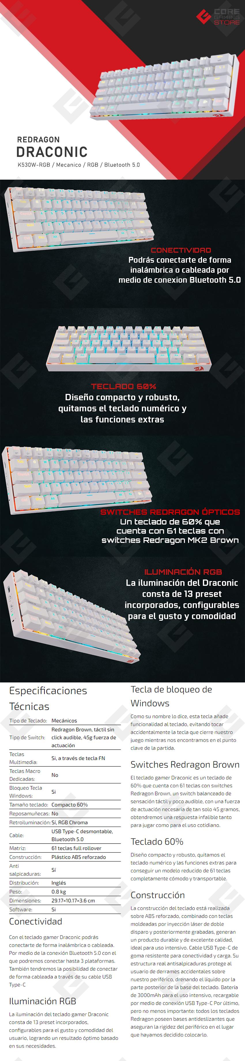 Teclado Mecanico Redragon Draconic K530W-RGB Blanco, 60%, Switches Redragon Brown
