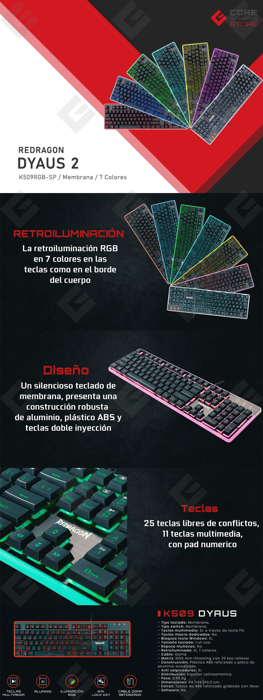 Teclado Membrana Redragon DYAUS2 K509 RGB, 7 Colores, Español - K509RGB-SP