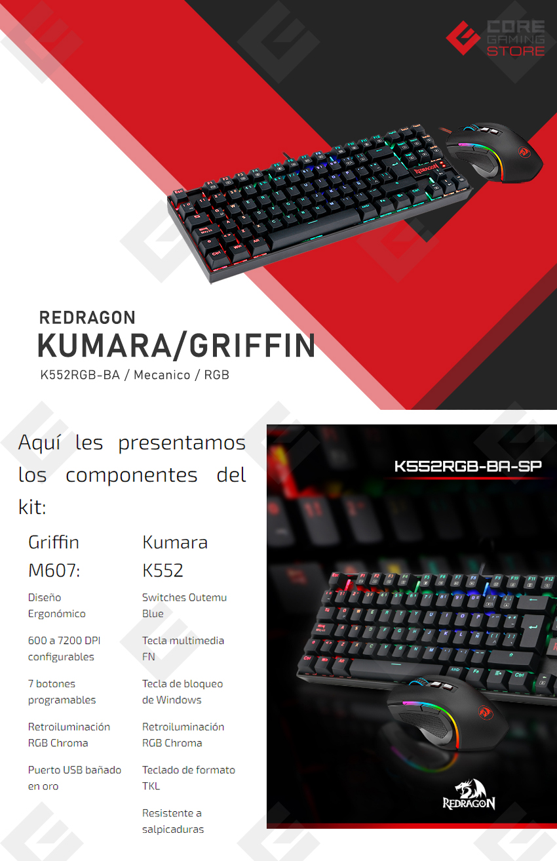 Combo de Teclado Mecanico y Mouse Redragon Kumara + Griffin - K552RGB-BA (K552RGB + M607)