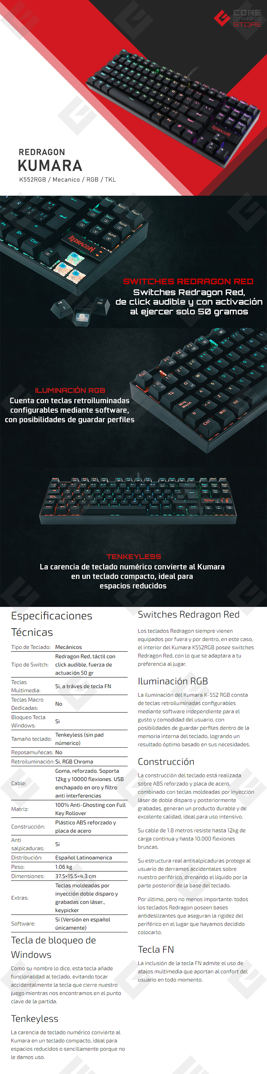 Teclado Mecanico Redragon Kumara Negro K552RGB, TKL, Switches Redragon Red opticos, Español