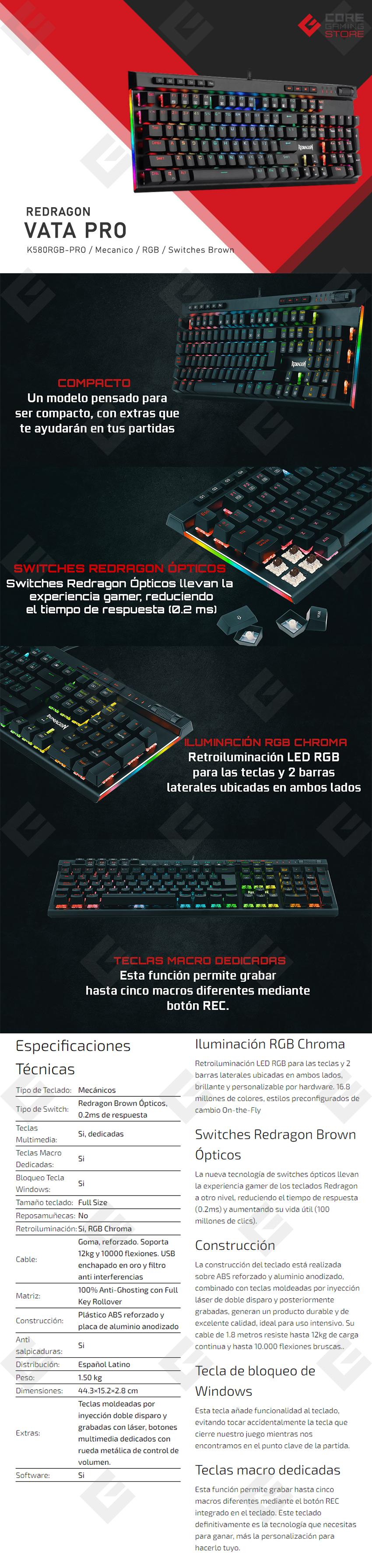 Teclado Mecanico Redragon Vata Pro K580RGB, Switches Redragon Brown, Español