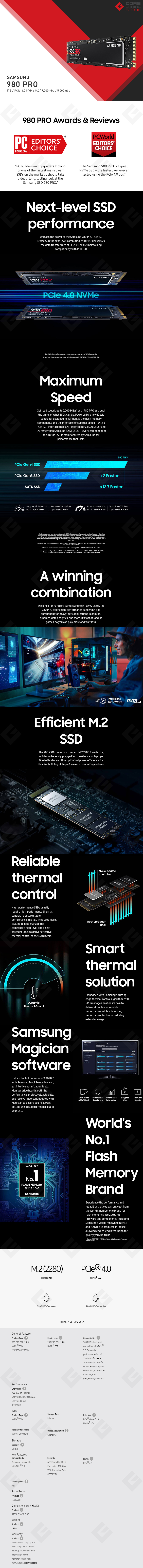 Unidad de Estado Solido SSD NVMe M.2 Samsung 980 Pro, 1TB, 7,000/5,000 Mb/s, PCI Express 4.0