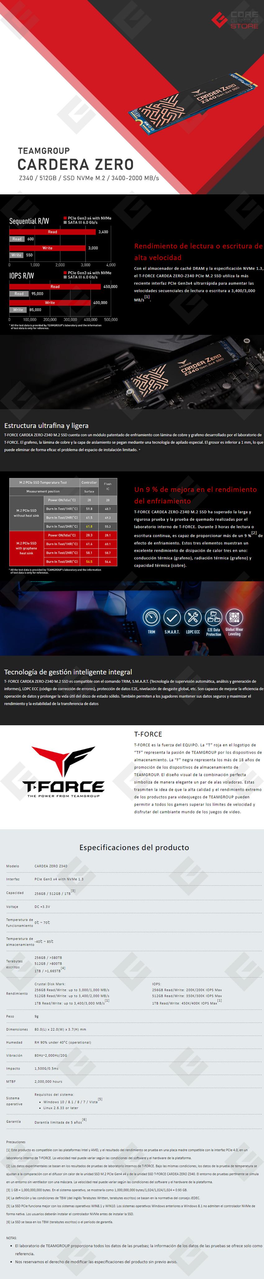 Unidad de Estado Solido SSD NVMe M.2 Teamgroup Cardea Zero Z340 512GB, 3400/2000, PCIe Gen3 x4 - TM8FP9512G0C311