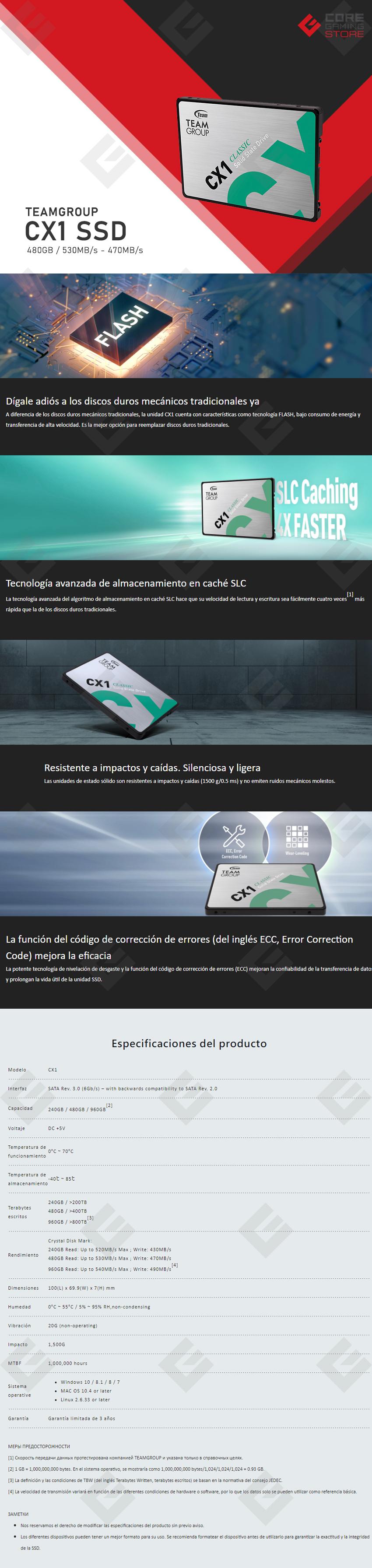 Unidad de Estado Solido SSD Teamgroup CX1 480GB, 530/470 MB/s, SATA - T253X5480G0C101